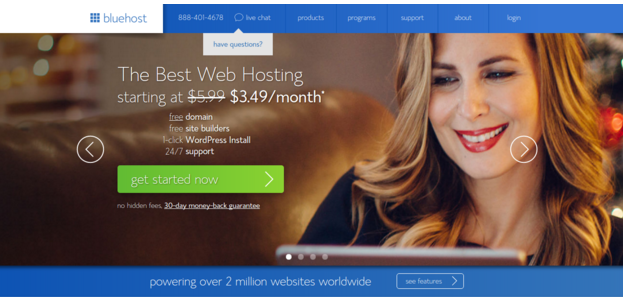 Bluehost hosting website