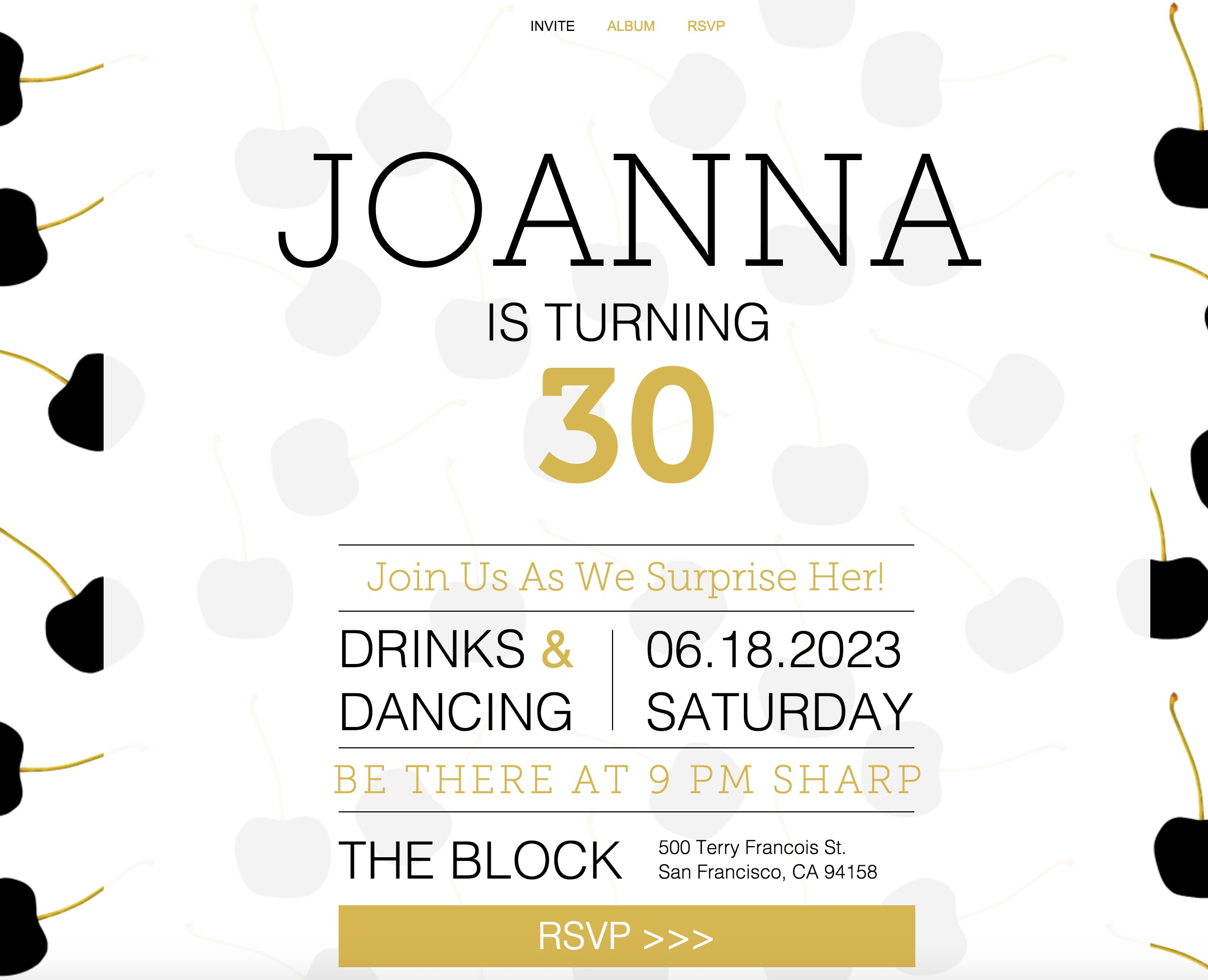 The Surprise Birthday Invitation - wix template