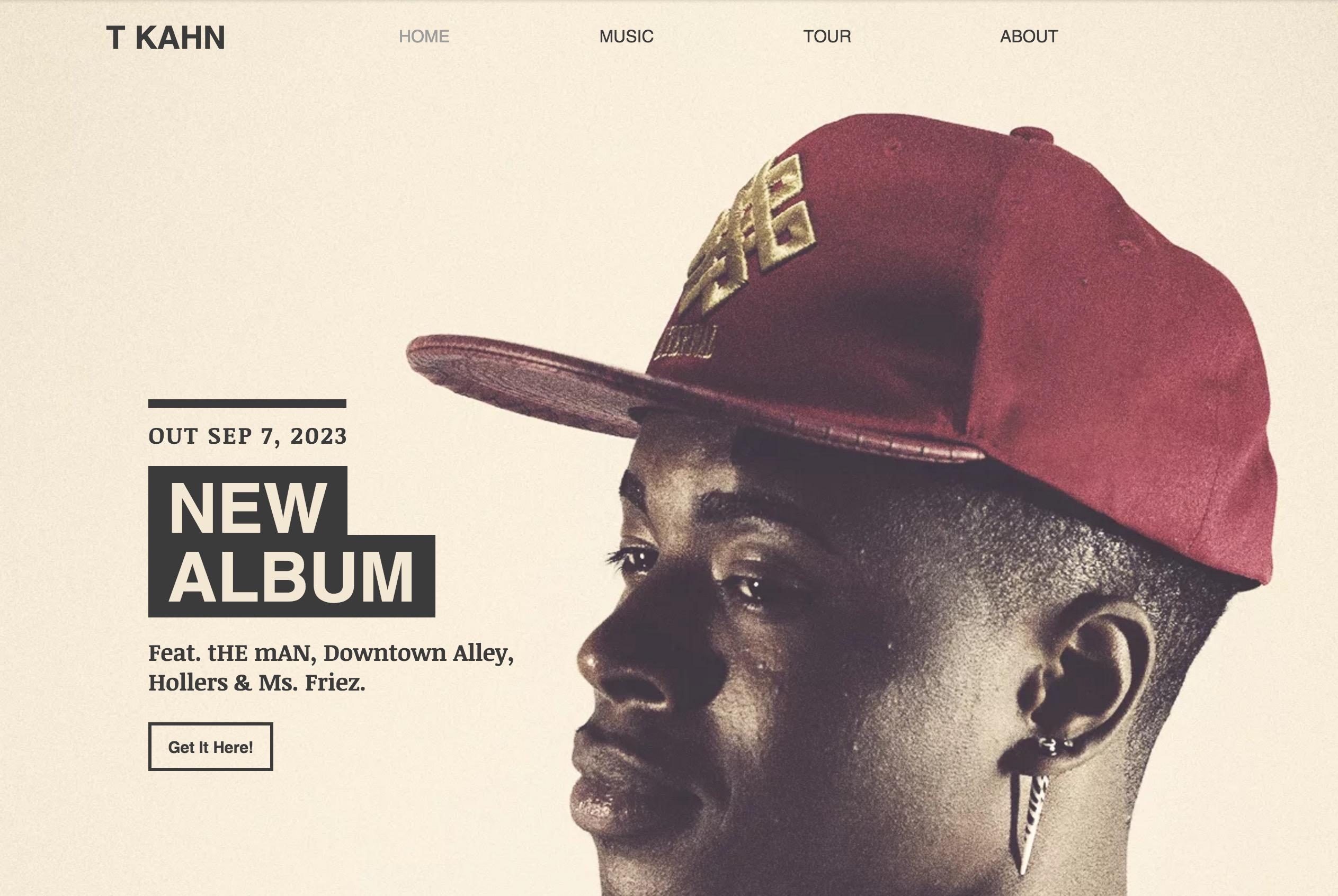 Hip Hop artist wix template