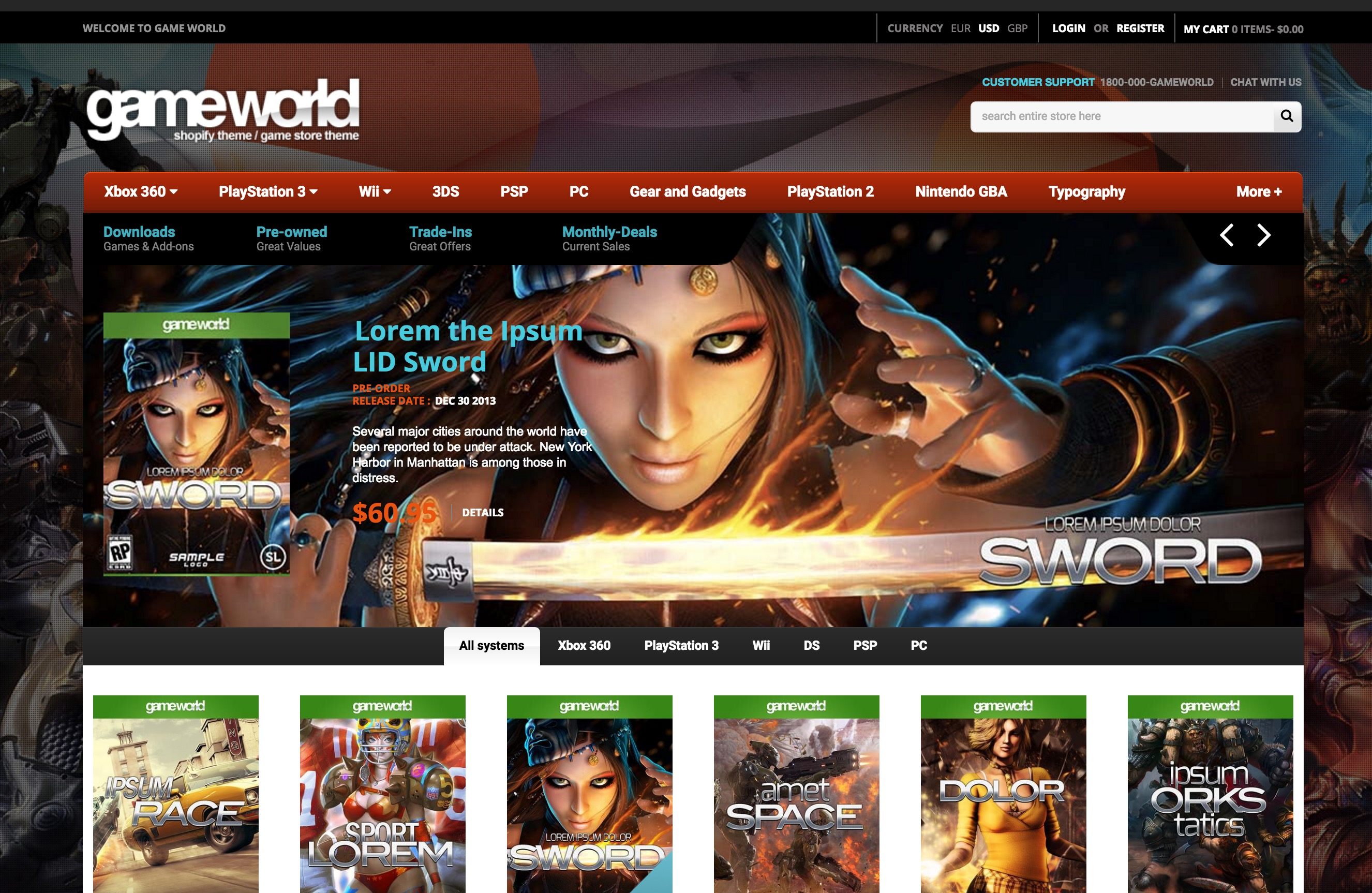 Game Store Shopify Template