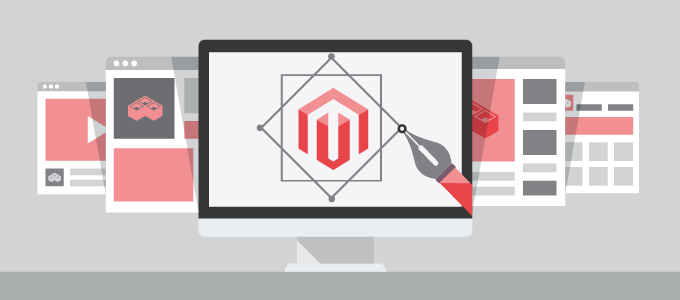 Magento logo inside a computer screen template
